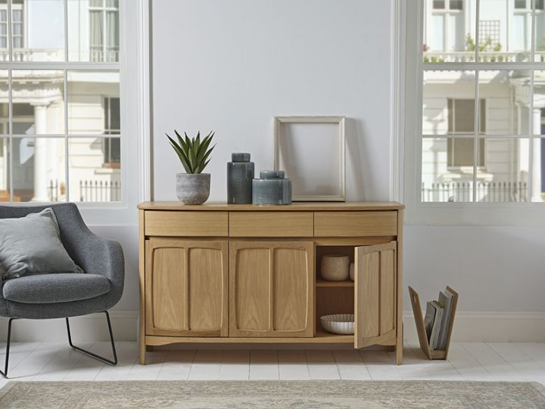 Shaped 3 Door Sideboard in Teak