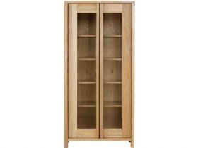 Oak Tall Glass Cabinet