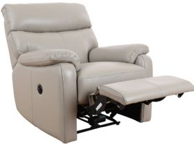 Scott grey leather chair with power recline function