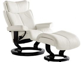 Stressless Magic Medium Leather Chair and Stool