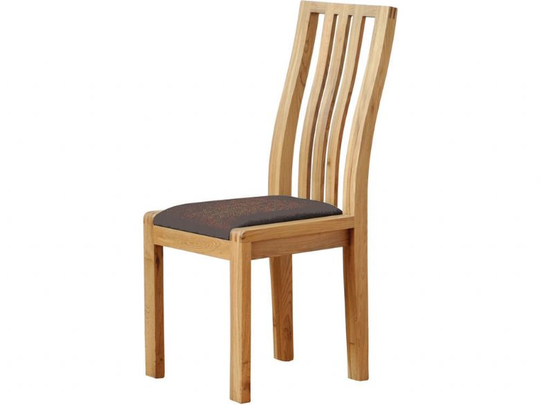 Oak Dining Chair Brown Fabric