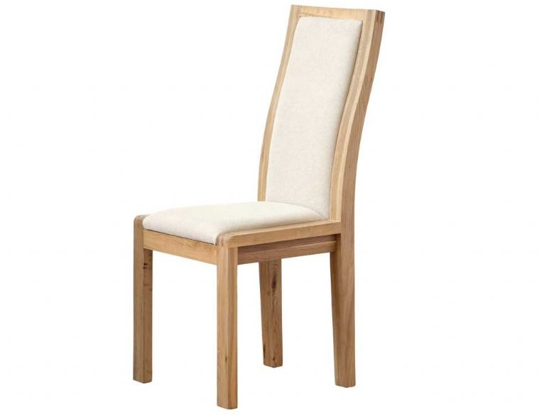 Ercol bosco oak upholstered dining chair cream lee longlands for Cream upholstered dining chairs