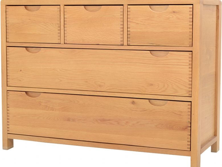 Oak 5 Drawer Wide Chest
