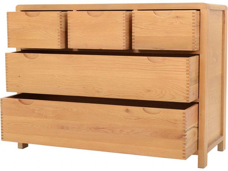 Ercol Bosco Bedroom Oak 5 Drawer Wide Chest