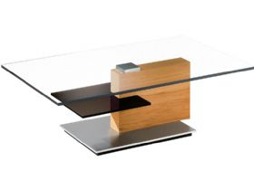Rectangular Coffee Table with Brown Shelf