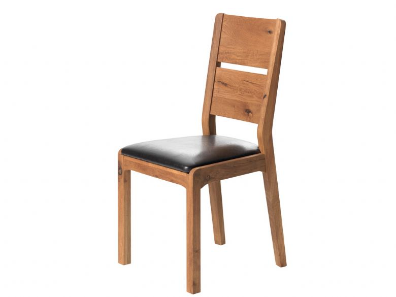 Oak Dining Chair Brown PU Seat