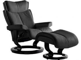Stressless Magic Small Leather Chair and Stool