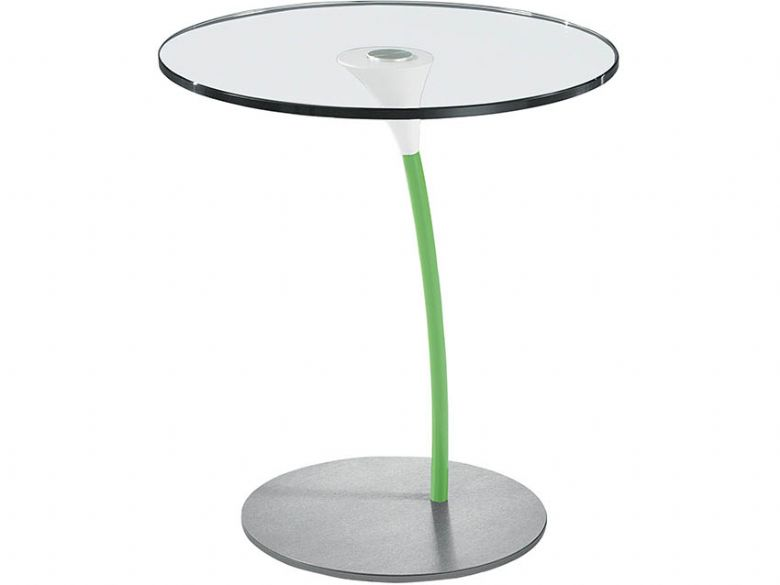 Circular Glass Lamp Table - Green