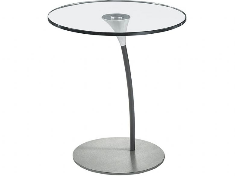 Circular Glass Lamp Table - Grey