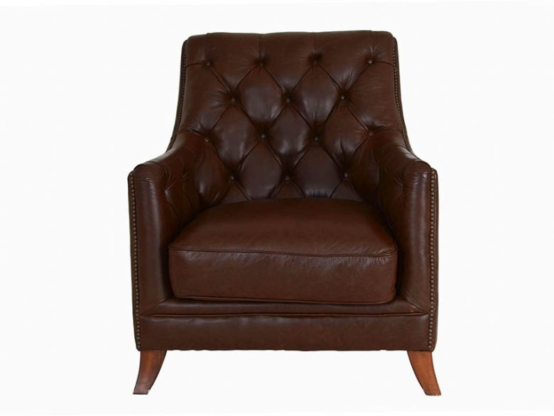 Finley leather button back chair in dark brown with wooden feet