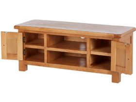 Oak Large TV Unit Open