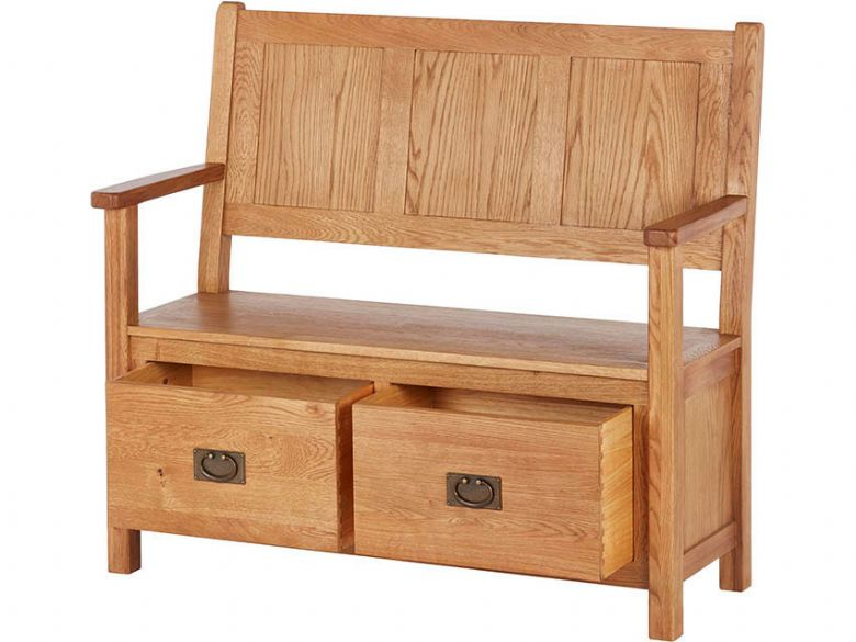 Oak Monks Bench Open Drawers