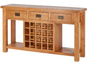 Oak Open Sideboard With Wine Rack