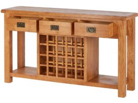 Oak Open Sideboard With Wine Rack Open Drawers