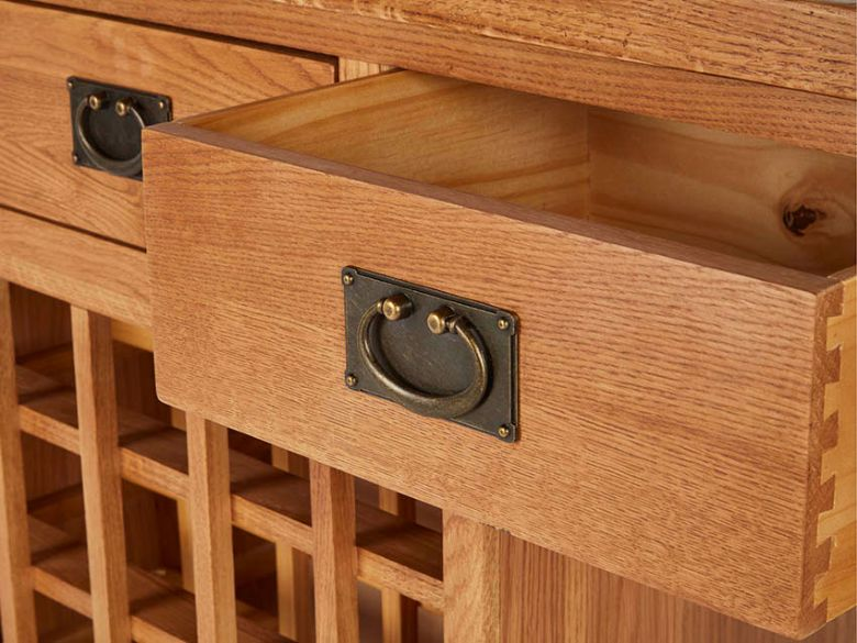 Oak Open Sideboard With Wine Rack Drawer
