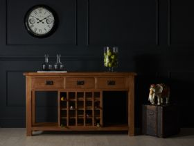 Fairfax Oak Open Sideboard With Wine Rack