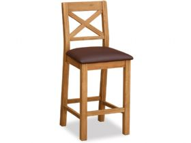 Oak Barstool with Brown Seat Pad