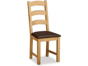 Fairfax Oak Dining Chair With Brown Seat