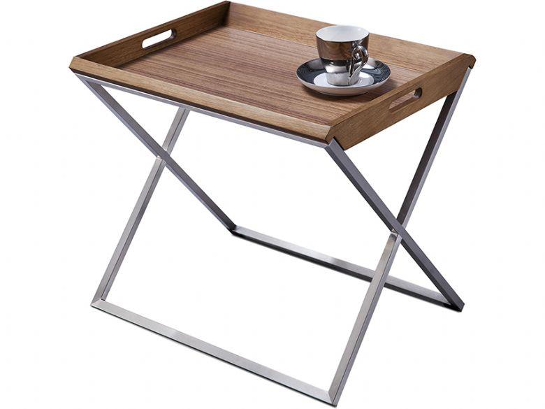 Natuzzi Editions Raffi Modern Walnut Tray Table
