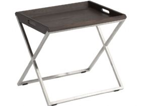Raffi Modern Coffee Oak Tray Table