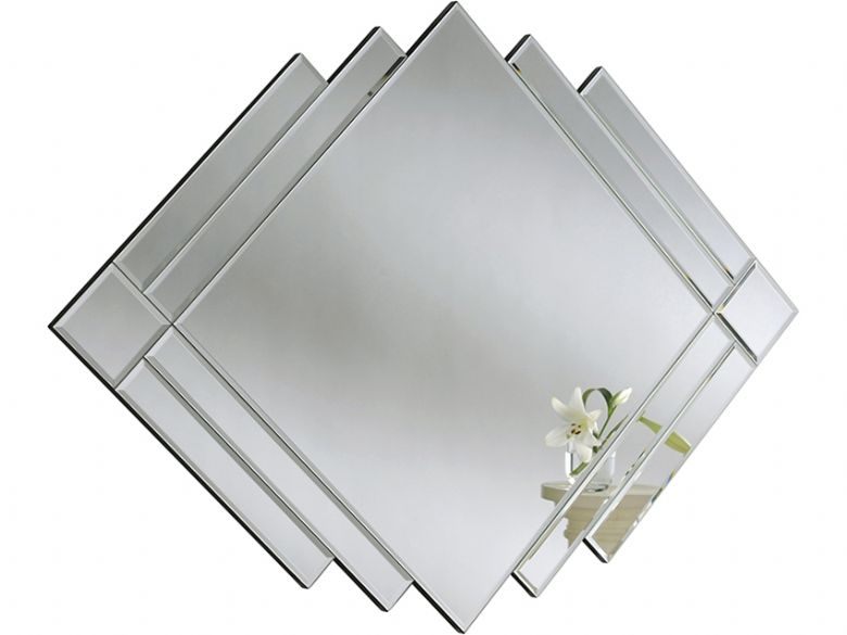 All Glass Multi-Panel Diamond Art Deco Mirror