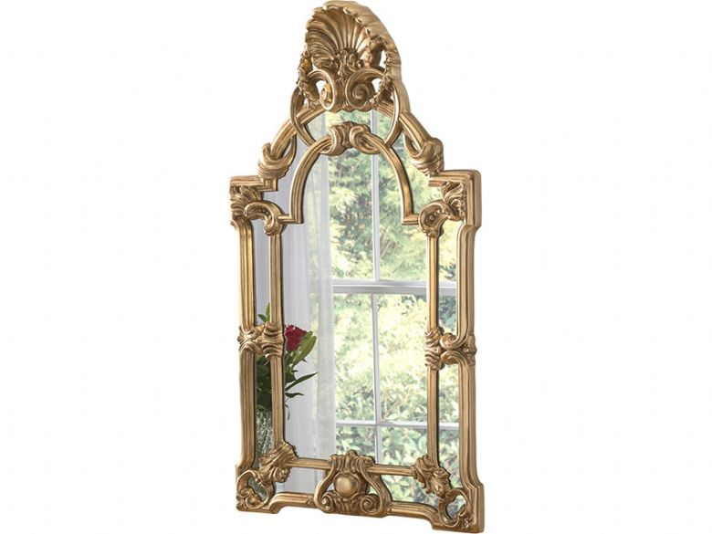 Gold Leafed Decorative Framed Crested Mirror