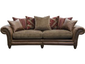 4 Seater Leather & Fabric Pillow Back Sofa - Split