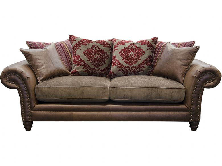 Carnegie 2 seater leather fabric pillow back sofa lee for Furniture kidderminster