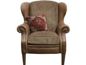 Leather & Fabric Wing Chair