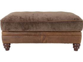 Leather & Fabric Footstool