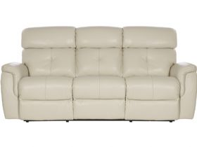 Laccino 3 seater leather recliner sofa in cream