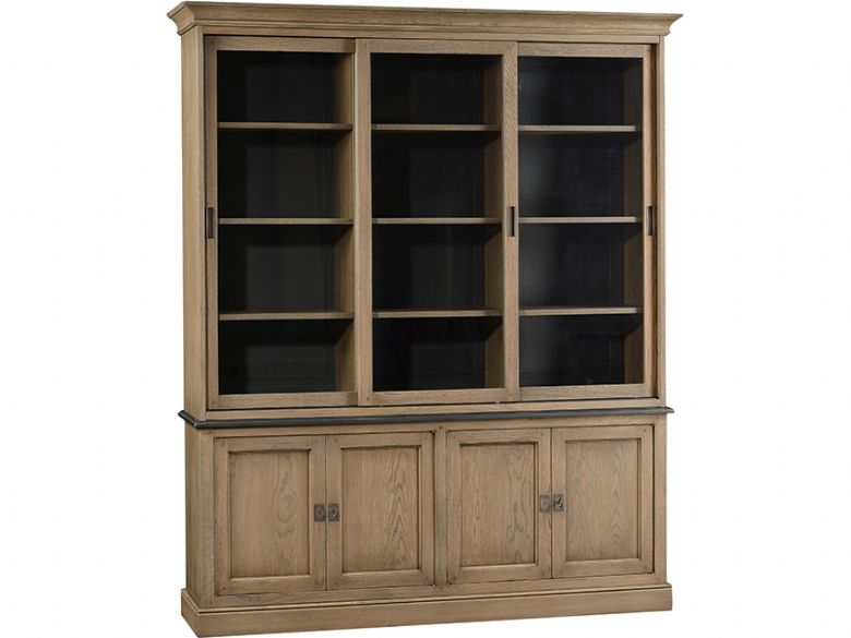Solid Oak Glazed Bookcase With 4 Low Doors