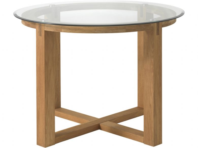 Oak Round Table With Glass Top