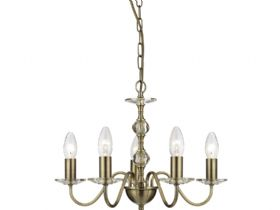 Monarch 5 Light Antique Brass Pendant