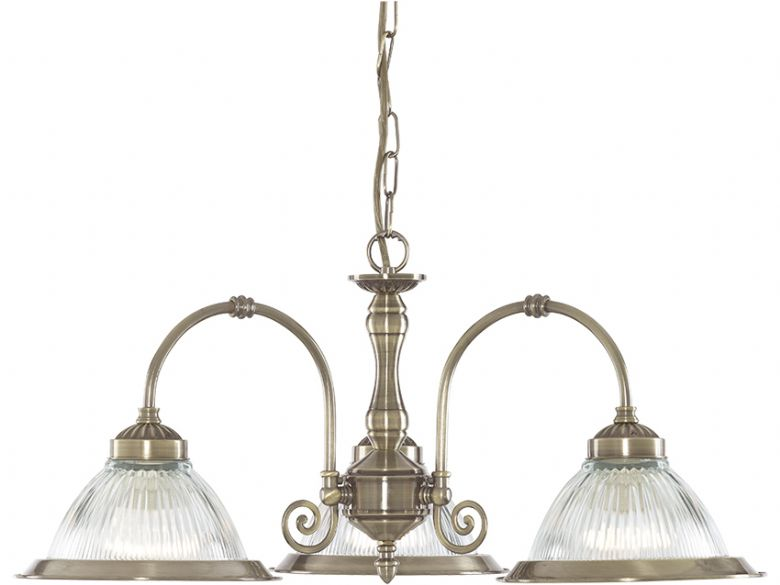 American Diner 3 Light Antique Brass Fitting