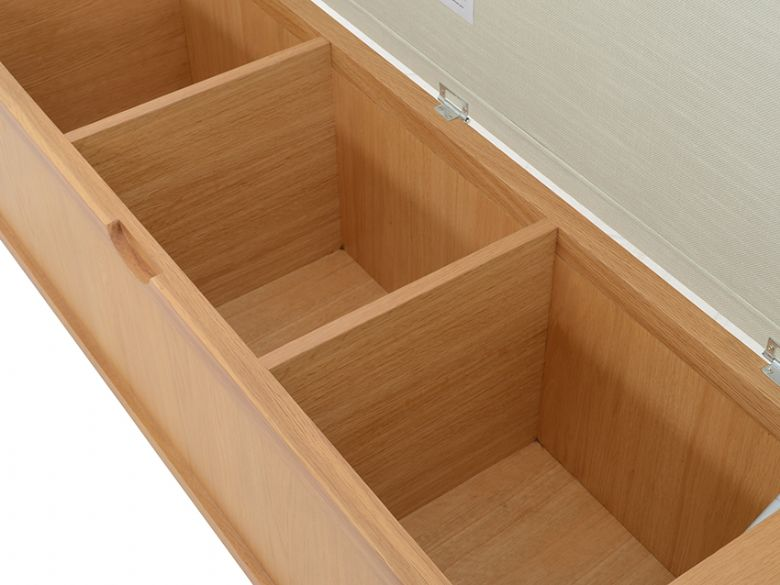 Ercl bosco storage bench with three internal compartments