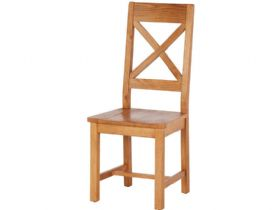 Oak Cross Back Chair - Wooden Seat