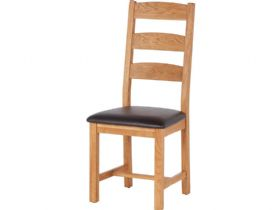 Oak Ladder Back Chair - PU Seat