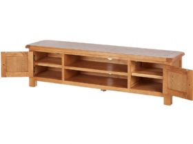 Oak Low TV Unit Open