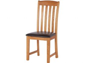 Oak Slat Back Chair - PU Seat