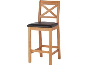 Oak Barstool with Black Seat Pad