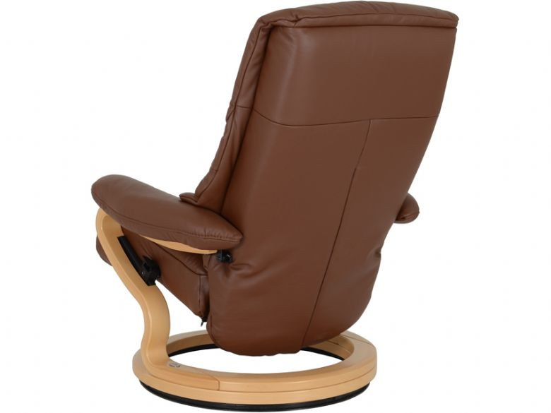 Himolla Clyde leather recliner chair and stool in brown