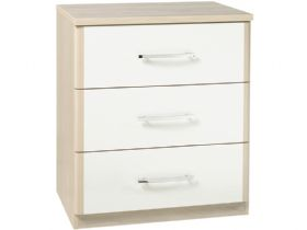 3 Drawer Wide Chest With White Drawers