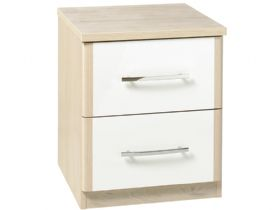 2 Drawer Bedside With White Drawers