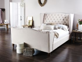Huxton deep buttoned high end fabric bed frame