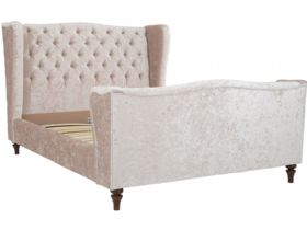 Huxton deep buttoned high end fabric bed frame in indulgence pearl