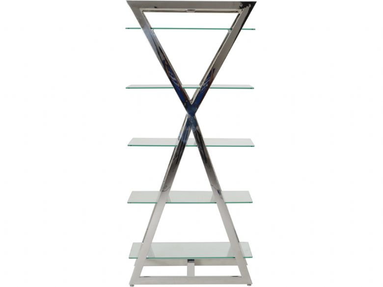 Newton stainless steel display unit with glass shelves