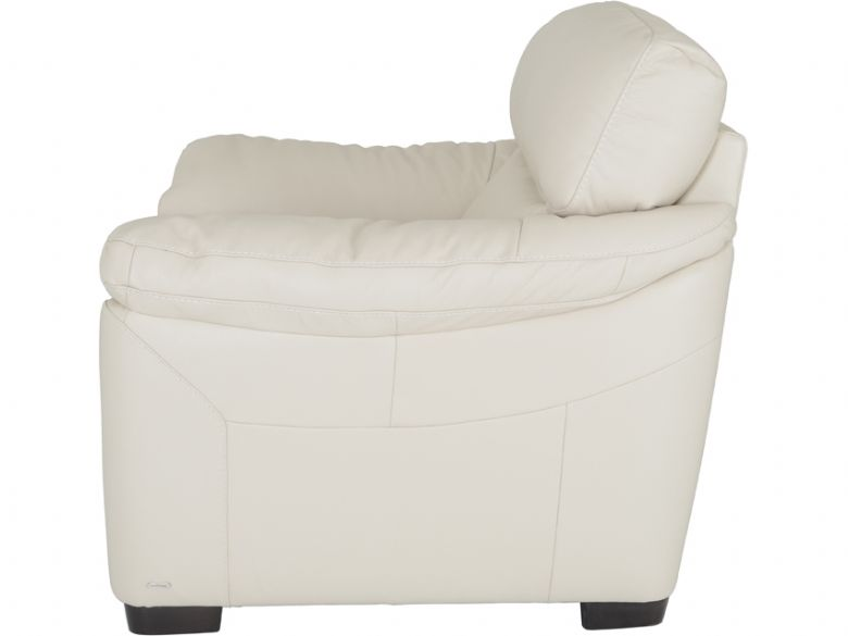 Cosmos cream leather armchair - side profile
