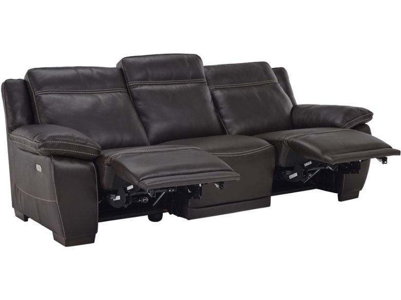 Marco 4 Seater Double Electric Recliner In Dark Brown Leather