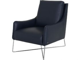 Natuzzi Editions Porto armchair in navy blue leather